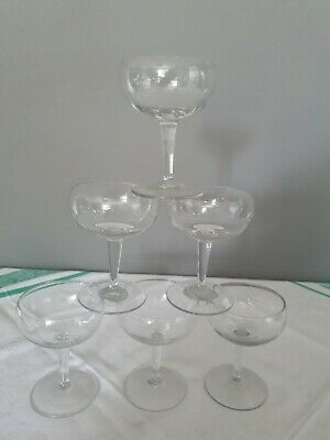 Set Of 6 Vintage Retro Champagne Saucer Glasses Coupes In Lovely Condition  • 12£