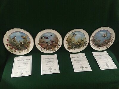 Seasons Of The Hedgerow Set Of 4 Royal Doulton Collector Bird Plates + Coa • 19.95£