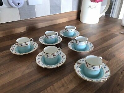 *RARE* Shelley Mocha Shape 6 X Coffee Cups & Saucers Pattern #10736 In VGC • 68£
