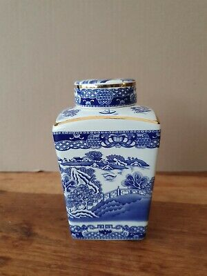 Wade/ringtons Maling Tea Caddy. Blue And White Willow Pattern • 4.40£