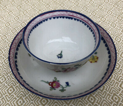 Antique Georgian Hand Painted China Tea Bowl / Cup And Saucer • 24.90£