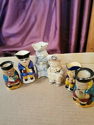 Small Toby Jugs All 6 Some Need Re-painting • 5.99£