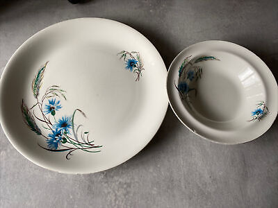 Alfred Meakin England 'Jayne' Blue Cornflower 9  Dinner Plate And Small Bowl • 3.50£