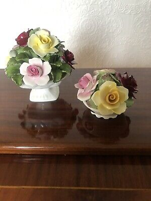 A Pair Of Aynsley Hand Painted Fine Bone China Flower Ornaments • 18£