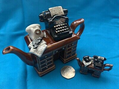 Cardew Design Extra Fine One Cup Teapot + A Thimble Size Teapot, Typewriter/Desk • 20£