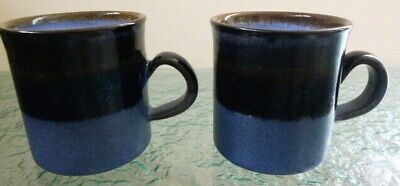 Vintage Hand Crafted Pair Mugs Iden Pottery Rye Blues & Brown • 19.99£