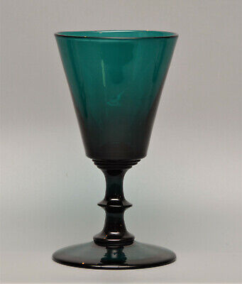Superb Late GEORGIAN C19th TURQUOISE Blade Knop English DRINKING GLASS • 1.99£