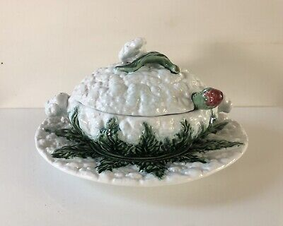 Bordallo Pinheiro Vintage Cabbage With Strawberries Serving Dish & Plate • 18£