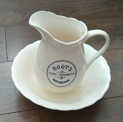 Vintage Boots Cash Chemists Nottingham Wash Stand Jug Bowl Ivory Navy Blue VGC • 29.99£