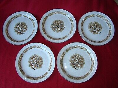 5 X Poole Pottery Parkstone Arden Brown Plates 8.5 Inches • 28£