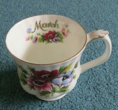 ROYAL ALBERT FLOWER OF THE MONTH  COFFEE / TEA MUG - MARCH - Anemones • 4£