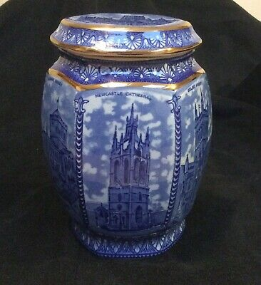 Vintage Ringtons Ceramic 'maling' Cathedral Jar - Blue & Gilt • 7.70£
