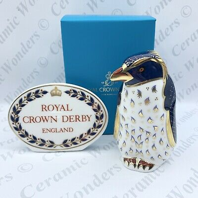 Royal Crown Derby Animal Paperweight - Rockhopper Penguin - Boxed - Gold Stopper • 75£