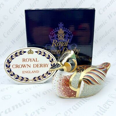 Royal Crown Derby Baikal Teal Paperweight - 1st Quality - Boxed - Gold Stopper • 79£
