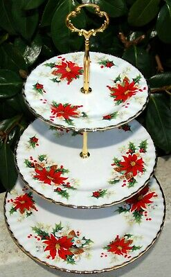 Royal Albert POINSETTIA Cake Stand 3 Tier • 89£