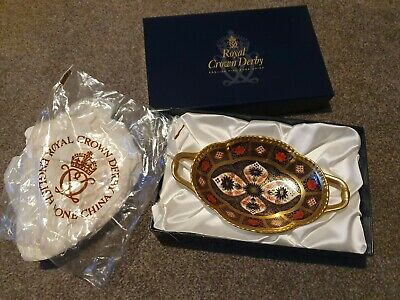 Royal Crown Derby Old Imari 1128 Melbourne Tray Boxed Mint Condition • 220£