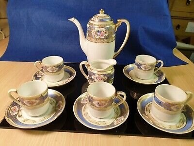 Noritake Teaset - Blue/White With Heavy Gilding, Scrolled Design/ Roses • 29.99£