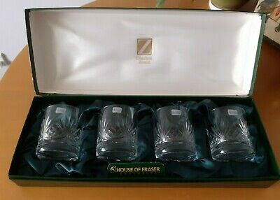 Boxed Set 24% Lead Crystal Whisky Tumbers, Excellent Condition • 29£