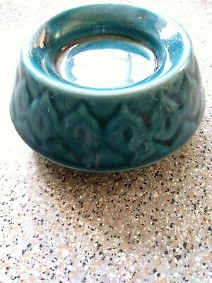 PRINKNASH ABBEY POTTERY BLUE WARE CANDLE HOLDER Mid Century Vintage Retro • 5£