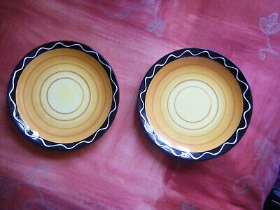 Plates X 2 With A Orange And Yellow Swirl Plus A  Zig Zag Boarder Decorative  • 5.99£