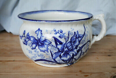 John Maddock & Sons Royal Vitreous Blue And White Antique Flow Chamber Pot • 14£