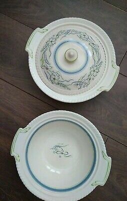 Vintage AE Gray & Co 19Covered & Open Serving Tureen Ivory Blue Green Flower VGC • 14.99£