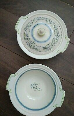 Vintage AE Gray & Co Covered & Open Serving Tureen Ivory Blue Green Flower VGC • 14.99£