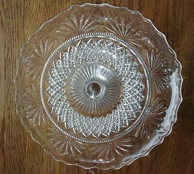 Pretty 8  Pressed Glass Cake Stand 1940s - Wedding Party Sandwiches Cake • 5£