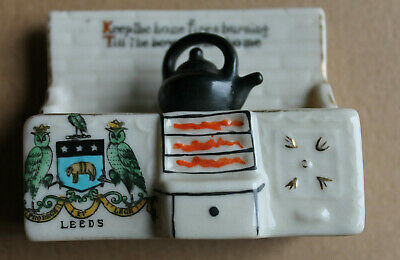 Leeds Owl Coat Of Arms WWI Crested China Carlton Kitchen Range Keep Home Fires • 12.25£