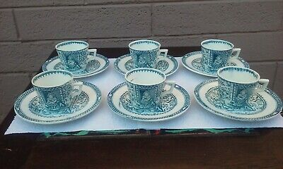 12pcs Charles Allerton England Transferware Childs Toy Cup Saucer Little Mea Pet • 114.81£