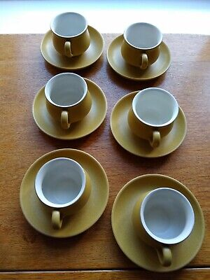 DENBY ODE SET OF 6 CUPS AND SAUCERS 1960s • 12£