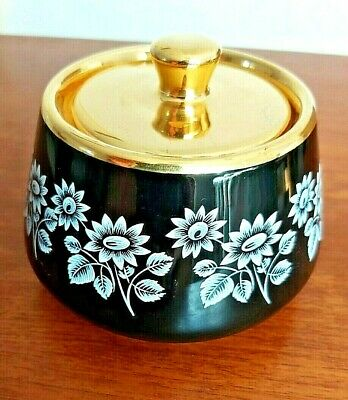 Prinknash Pottery – Small Black & Gold Rimmed Pot With Lid • 10£
