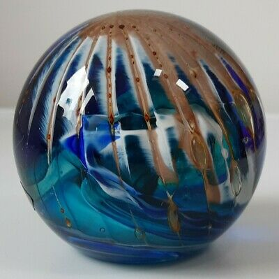 Large Vintage Mid Century Phoenician Glass Paperweight Malta  Signed & Labelled  • 12£