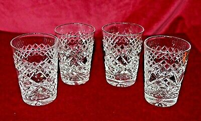 Vintage Cut Glass Good Quality Small Whisky Tumblers X 4 • 38£