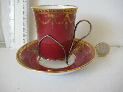 Rare Vintage Paragon England Cabinet Cup Saucer Silver Hallmarked Holder • 49.99£