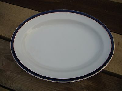 Empire Ware Stoke On Trent Large Vintage Blue And White Meat Plate Gold Trace • 18£
