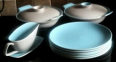 Vintage Poole 6 Dinner Plates, 2 Serving Dishes, 1 Gravy Boat Twintone Grey/Blue • 53£