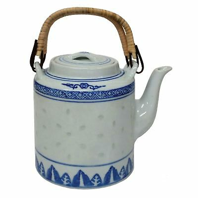 Chinese Teapot - Blue And White Rice Pattern - Cane Handles - 1250ml • 19.50£