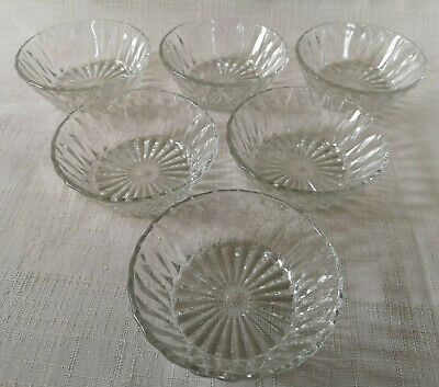6 X Cut Glass Dessert Type Bowls Made In France Vintage Icecream Christmas Small • 12£