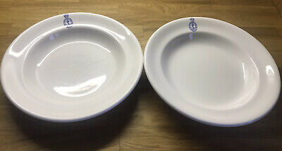 Crown Ducal Royal Navy Admiralty Crest Soup / Pasta / Cereal Bowls 2 X 1966 • 24.99£