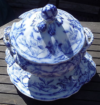 RARE ANTIQUE FLOW BLUE WHITE BAMBOO PATTERN SOUP TUREEN LID & STAND C1890 1612 • 195£