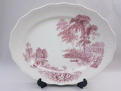 Large Swinnertons Staffordshire England The Ferry Pink Oval Platter/Tray VINTAGE • 9.99£