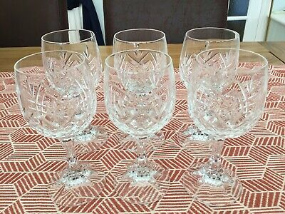 6 Crystal Cut Red Wine Glasses - Good Quality In Very Nice Condition • 9.99£