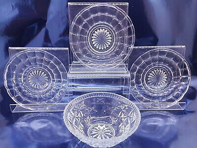 Collection Of Vintage/ Retro Pressed Cut Glass Clear Crystal Bowl & Plates • 13.99£