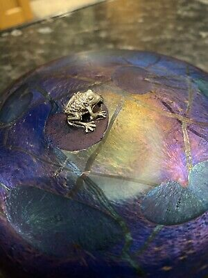 Glasform John Ditchfield Iridescent Aqua Lily Pad Paperweight With Silver Frog • 100£
