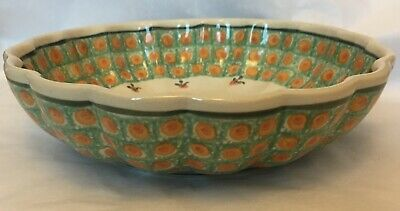 A Large Original, Hand-made, Green-orange Bunzlau Bowl In Perfect Condition • 0.99£