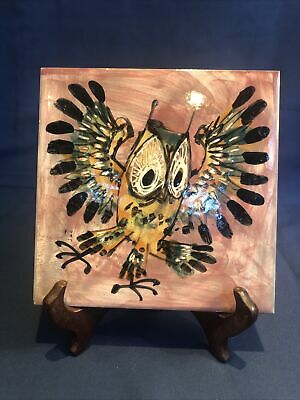 Vintage Carter Tiles Hand Painted Owl By The Ventnor Pottery Studio England • 10£