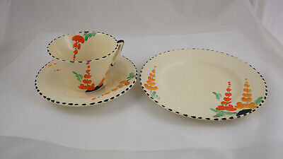 Vintage Art Deco Burleigh Ware Zenith Lupin Cup Saucer And Plate  • 15£