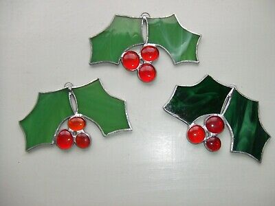 Handmade Christmas Holly Stained Glass Decorations • 5.50£