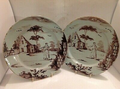 Unusual Pair Of English Delft Plates Painted In Manganese • 995£